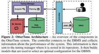 Automatic database management system tuning through large