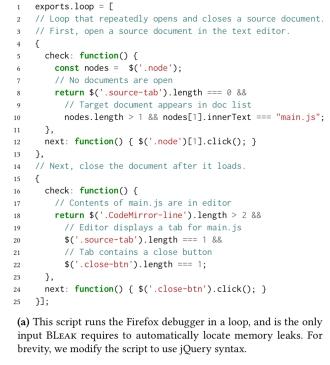 BLeak: automatically debugging memory leaks in web